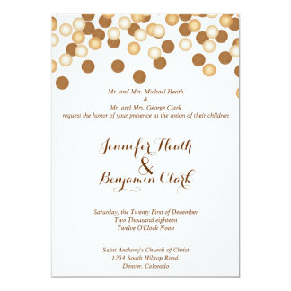 Gold Dots on White Wedding Invitation