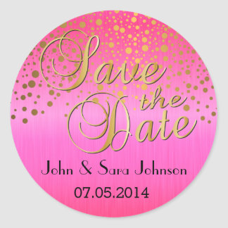 Gold Dots & Pink | Personalize | Wedding Classic Round Sticker