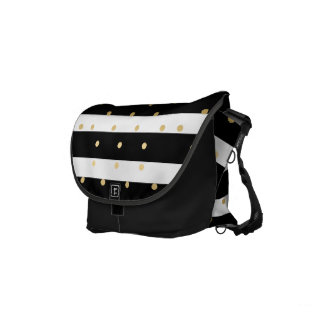 Gold Dots With Black & White Stripes Pattern Courier Bag