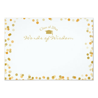 Gold Dots Words of Wisdom Advice for the Graduate 9 Cm X 13 Cm Invitation Card
