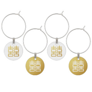 Gold Double Happiness Oriental Wine Charm Set