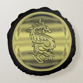 Gold Dragon coin Round Cushion