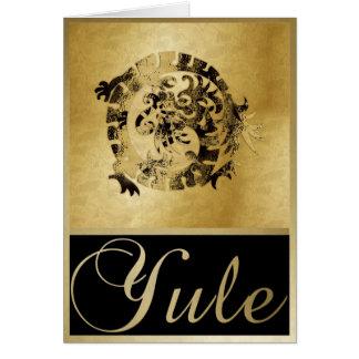 Gold Dragon & Frames - Yule Greeting Card