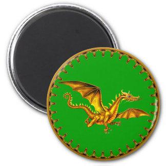 gold dragon on green 6 cm round magnet