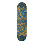 Gold Dragon on Lapis Blue Leather Texture Skateboard Deck