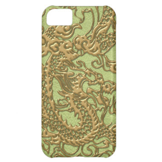 Gold Dragon on Lime Green Leather Texture iPhone 5C Case