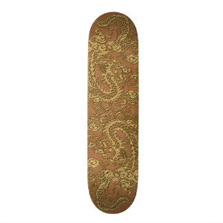 Gold Dragon on Natural Tan Leather Texture Skateboard Decks