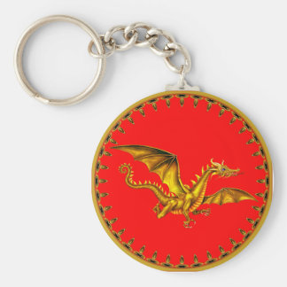 gold dragon on red key ring