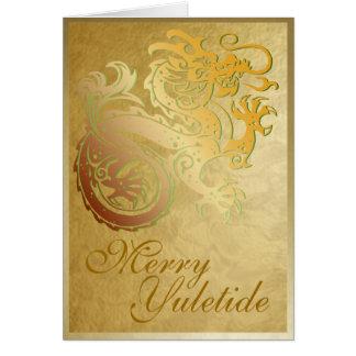 Gold Dragon - Yule Greeting Card 4