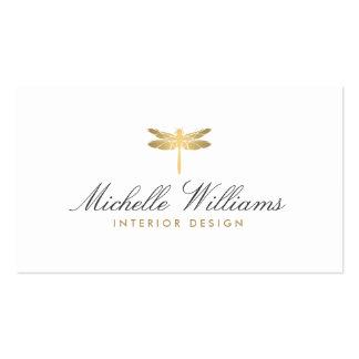 Gold Dragonfly Logo for Interior Designer Pack Of Standard Business Cards