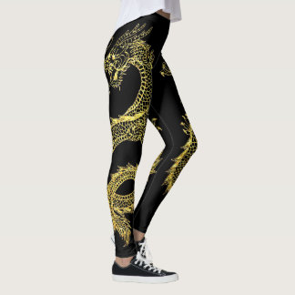 Gold Dragons Personalize Background Color Leggings