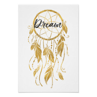 Gold Dream Catcher Poster