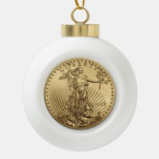 Gold Eagle coin Ceramic Ball Decoration