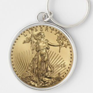 Gold Eagle coin Silver-Colored Round Key Ring