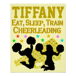 GOLD EAT, SLEEP, CHEER PERSONALIZED POSTER