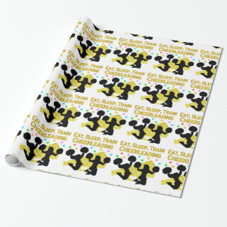 GOLD EAT SLEEP CHEERLEADING DESIGN WRAPPING PAPER
