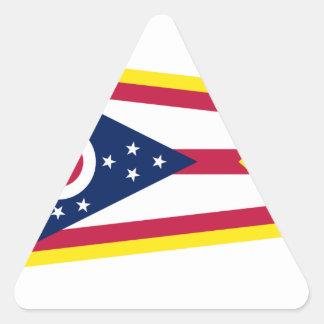 Gold Edge Ohio Flag Triangle Sticker