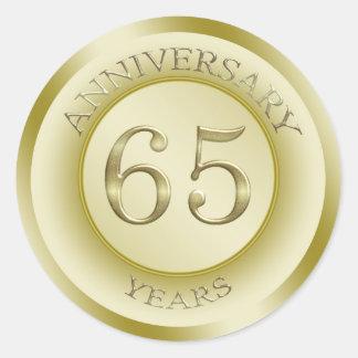 Gold effect 65th Wedding Anniversary Sticker