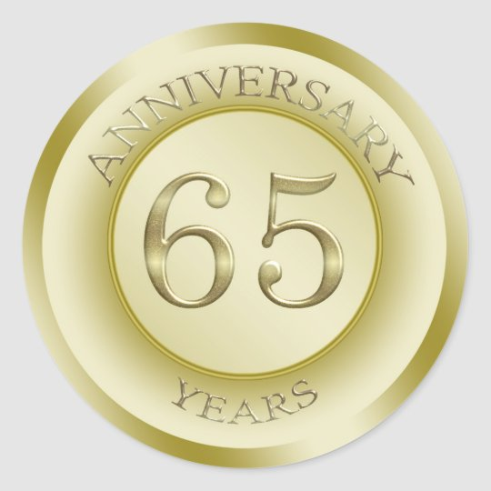 gold effect 65th wedding anniversary sticker. Black Bedroom Furniture Sets. Home Design Ideas