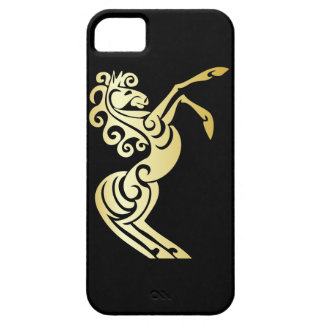 Gold Effect Artistic Horse on Black Case For The iPhone 5