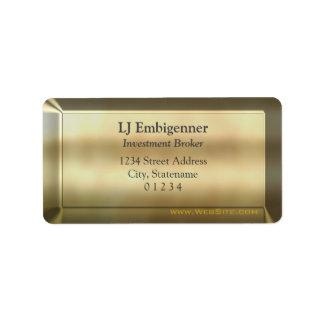 Gold-effect Investment Broker luxury Address Label