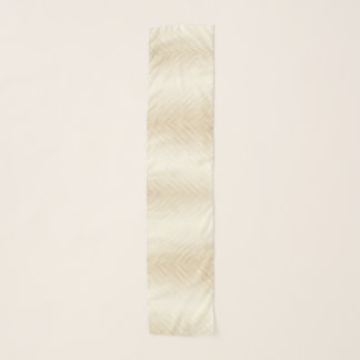 Gold Effect Ombre Lines Stripes on White Luxury Scarf