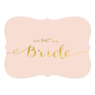 Gold-effect With Love to My Bride Wedding Day 13 Cm X 18 Cm Invitation Card