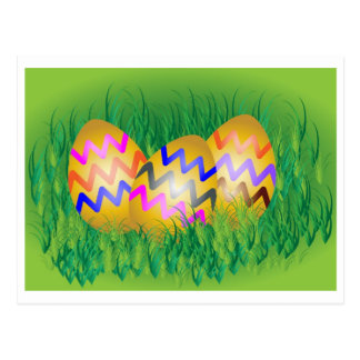 Gold eggs with zig-zag pattern on green grass post card