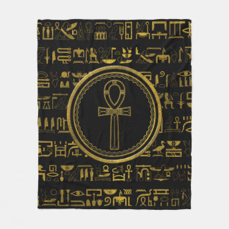 Gold Egyptian Ankh Cross symbol Fleece Blanket