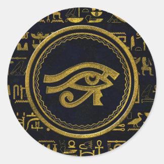 Gold Egyptian Eye of Horus - Wadjet Classic Round Sticker