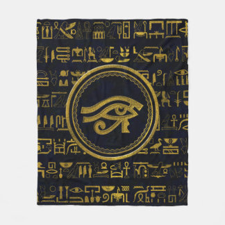 Gold Egyptian Eye of Horus - Wadjet Fleece Blanket