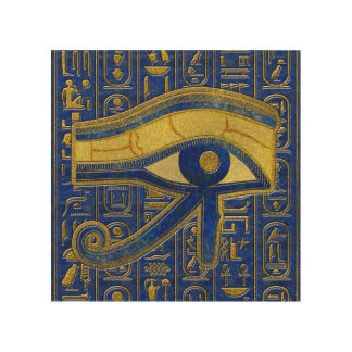 Gold Egyptian Eye of Horus - Wadjet Lapis Lazuli Wood Wall Art