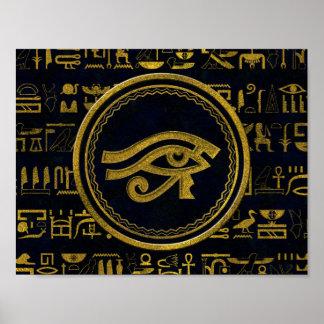 Gold Egyptian Eye of Horus - Wadjet Poster