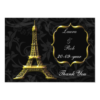 Gold Eiffel tower French Wedding Thank You Custom Invites