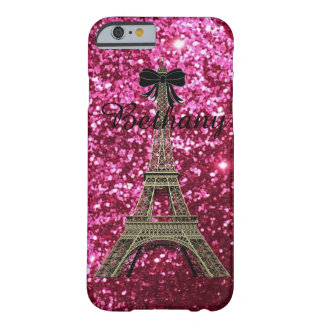 Gold Eiffel Tower on Shiny Pink iPhone 6 case Barely There iPhone 6 Case