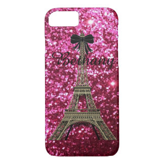 Gold Eiffel Tower on Shiny Pink iPhone 7 case