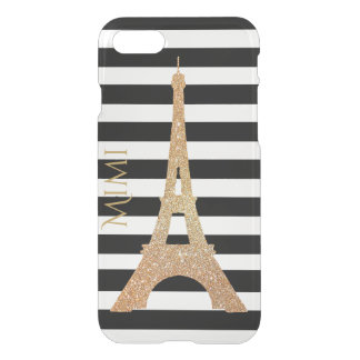 Gold Eiffel Tower on Stripes Clear iPhone 7 Case