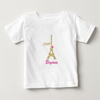 Gold Eiffel Tower Paris & Pink Rose Custom Baby T-Shirt