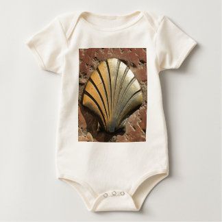Gold El Camino shell sign, pavement, Leon, Spain Baby Bodysuit
