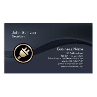 Gold Electric Plug Icon Electrician Business Card