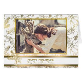 Gold Elegance Engraved Holly Custom Photo Card