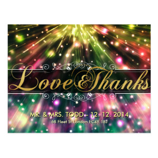 Gold Elegance Love and Thanks Wedding Postcards