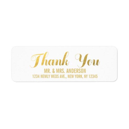 Gold Elegance Wedding Thank You Return Address Label