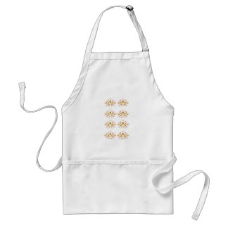 Gold elements on white standard apron