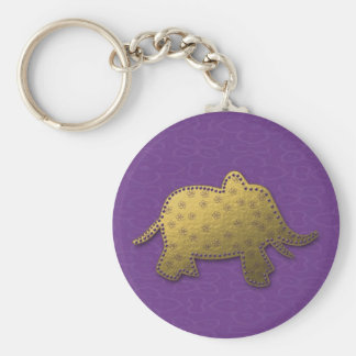gold elephant basic round button key ring