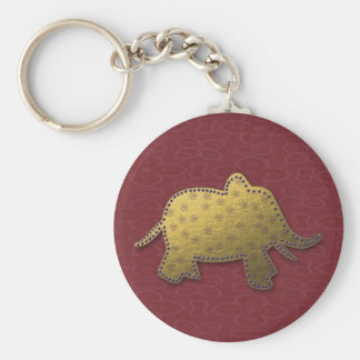 gold elephant basic round button key ring