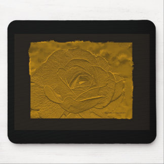 Gold Emboss Look  Rose Mouse Pad