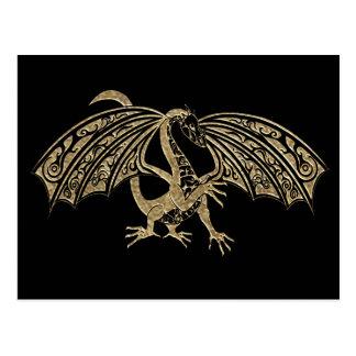 Gold Embossed Dragon Fantasy Postcard