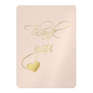 Gold Embossed Effect Calligraphy Wedding Thank You Card