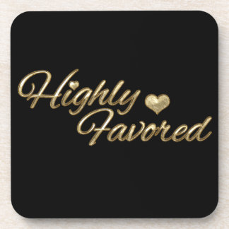 Gold Embossed Highly Favored Drink Coasters